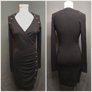 NWT Caché Black Knit Faux Wrap Body Con Dress
